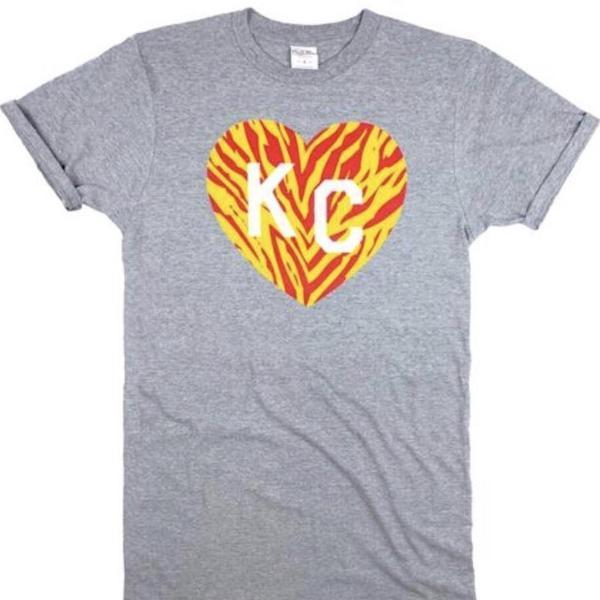 KC -kansas city Heart yellow red white made by Calico Ink