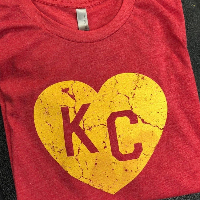 KC Heart Distressed Red T Shirt by Calico Ink