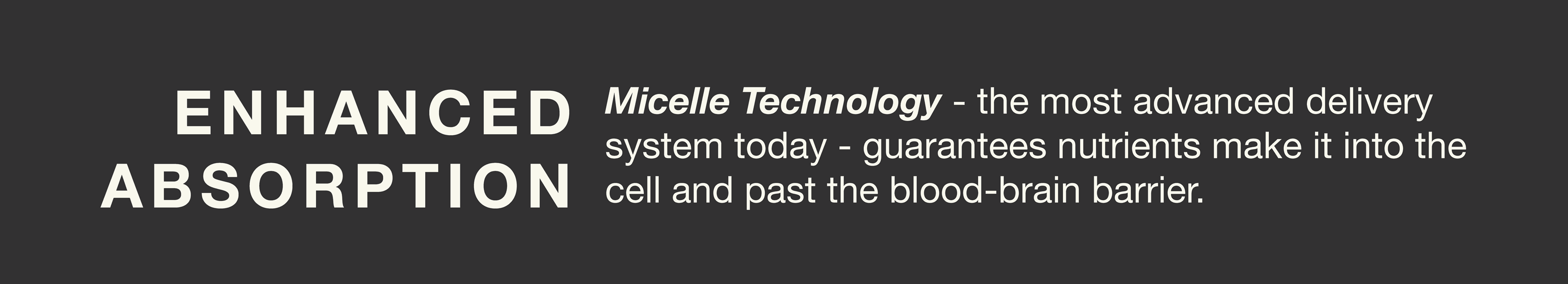 Enhanced absorption via micelle technology, the most advanced delivery system today to guarantee nutrients make it into cells