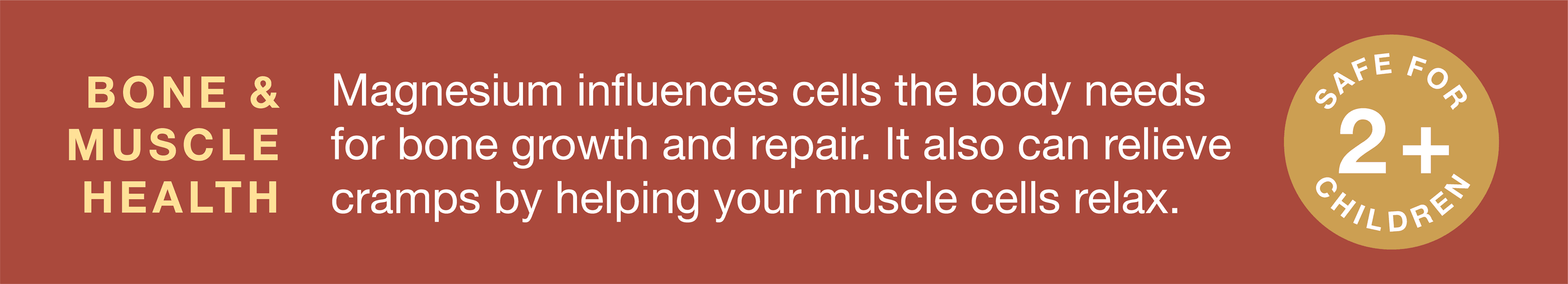 Magnesium influences cells for bone growth and repair, and can also relieve cramps by helping muscle cells relax.