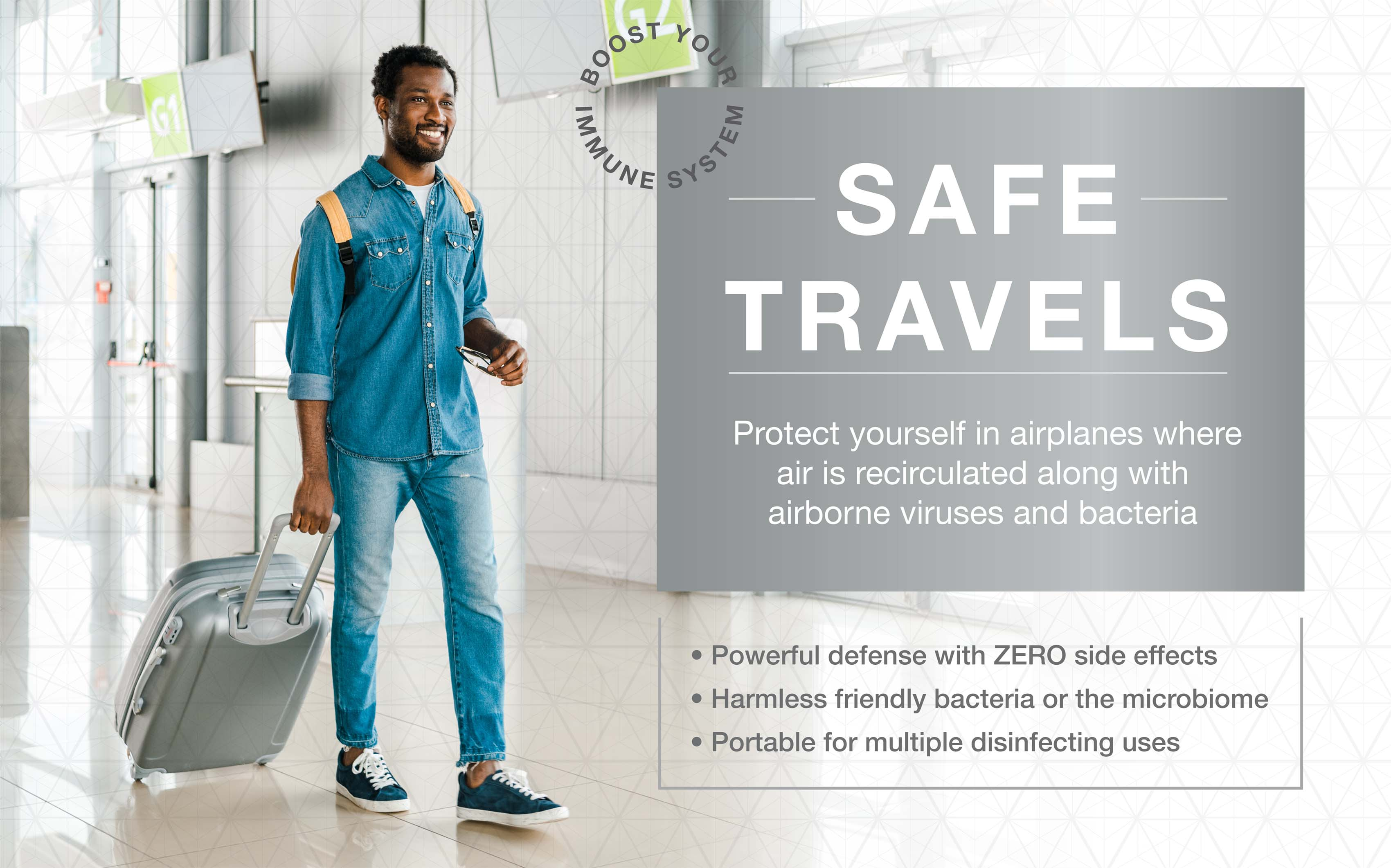 Protect yourself in airplanes where air is recirculated along airborne viruses and bacteria.