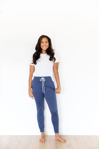 HEATHERED NAVY WOMENS JOGGERS