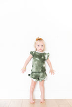 OLIVE GREEN WAFFLE KNIT TIE DYE GIRL SHORT SET