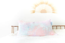LIGHT CORAL + PURPLE + LIGHT BLUE TIE DYE PILLOW CASE