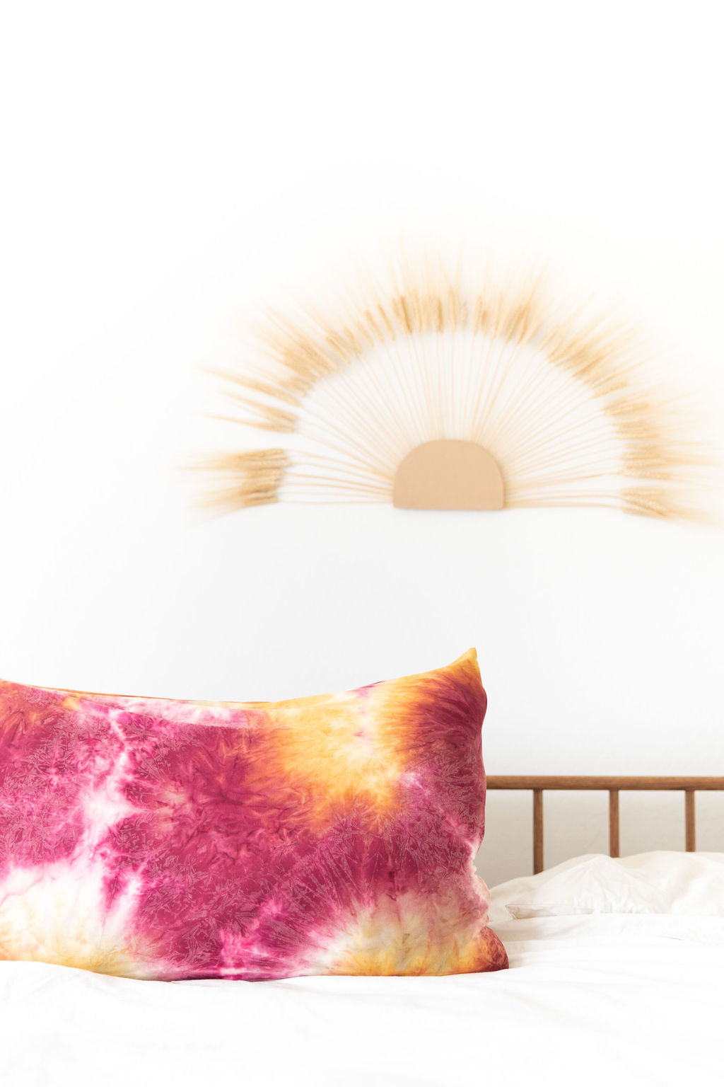 MAROON + TAN + MUSTARD TIE DYE PILLOW CASE