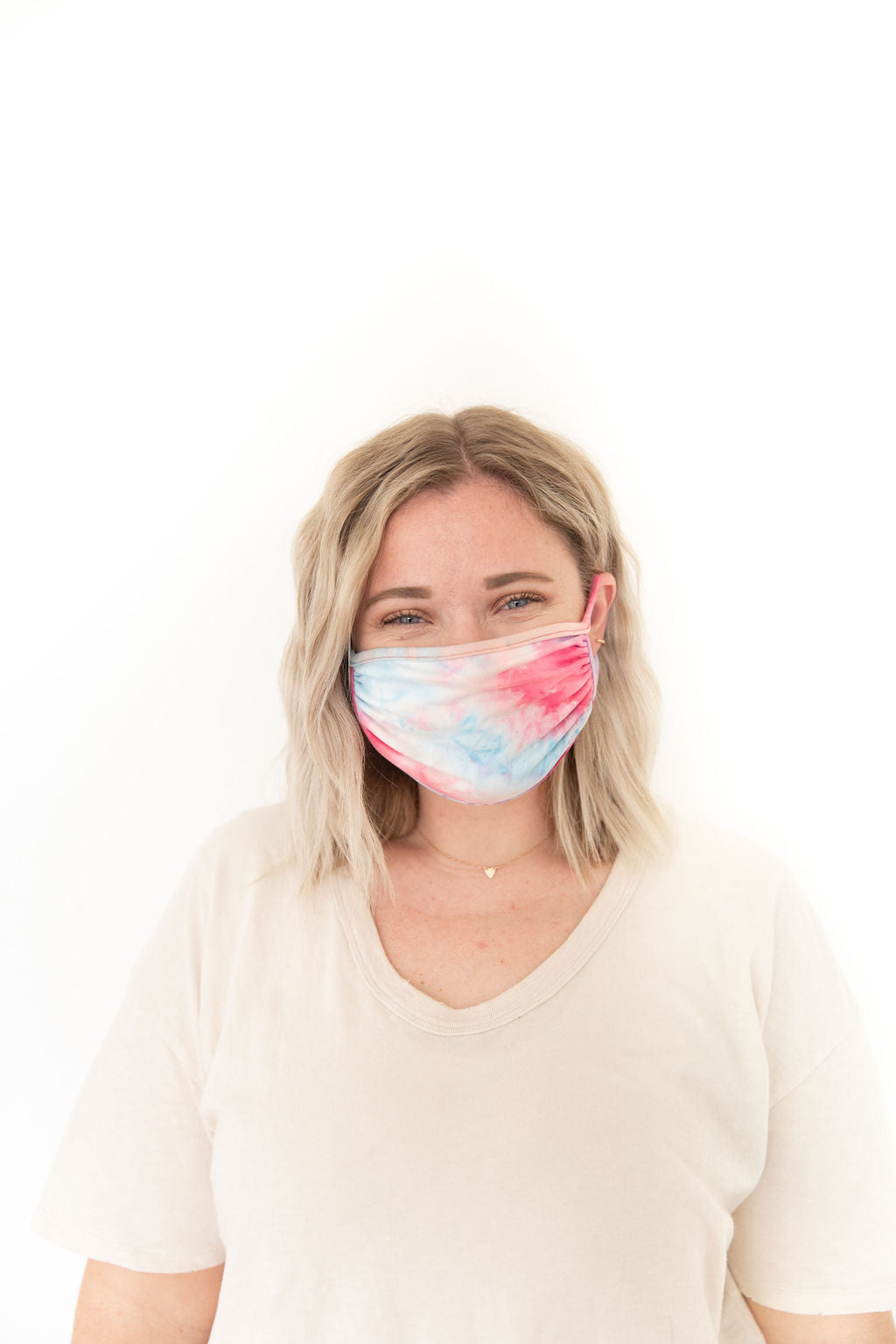 PINK + BLUE TIE DYE - KID/ADULT FACE MASK
