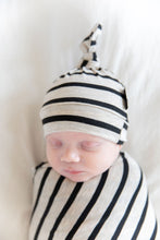 OATMEAL + BLACK THICK STRIPE BEANIE SET