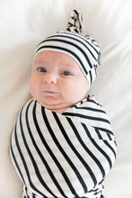 WHITE + BLACK STRIPE BEANIE SET