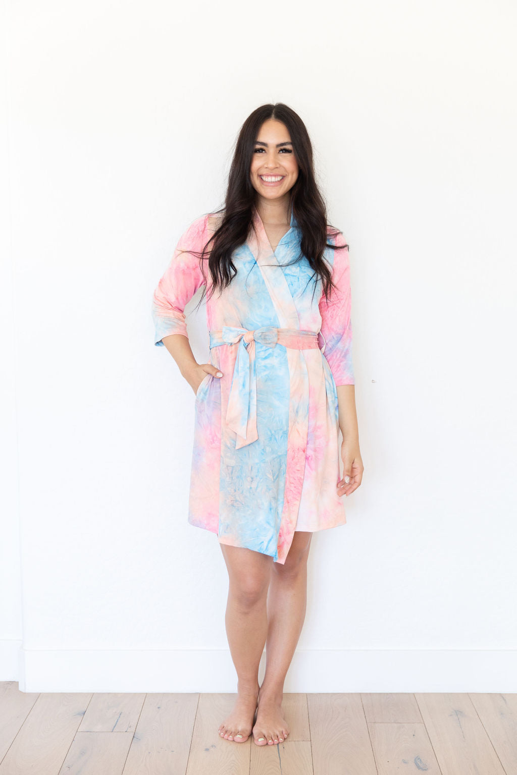 PINK + BLUE + PEACH TIE DYE WOMEN'S ROBE