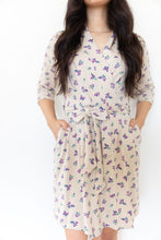 TAN + PURPLE FLORAL WOMEN'S ROBE