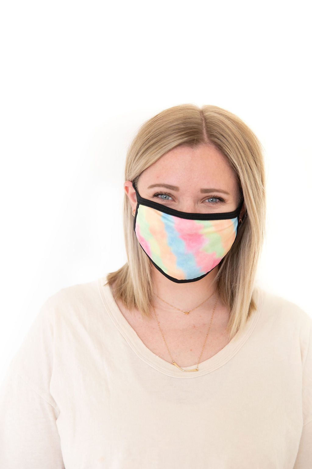 BRIGHT PINK + GREEN + ORANGE + BLUE TIE DYE - ADULT FACE MASK