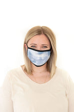 LIGHT BLUE + WHITE TIE DYE - ADULT FACE MASK