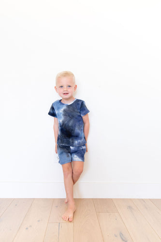 LIGHT/DARK BLUE + GREY WAFFLE KNIT TIE DYE SHORT SET