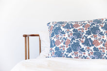 PEACH + BLUE FLORAL PILLOW CASE