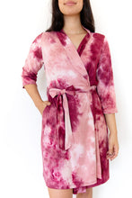 CRANBERRY + LIGHT MAUVE RIBBED TIE DYE WOMEN'S ROBE