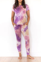 PURPLE + MAUVE + TAN TIE DYE - SHORT SLEEVE