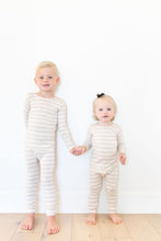 HEATHERED OATMEAL + IVORY STRIPE