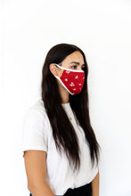 DARK RED FLORAL - ADULT FACE MASK