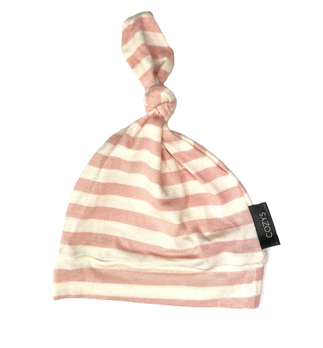 LIGHT PINK + WHITE STRIPE BEANIE