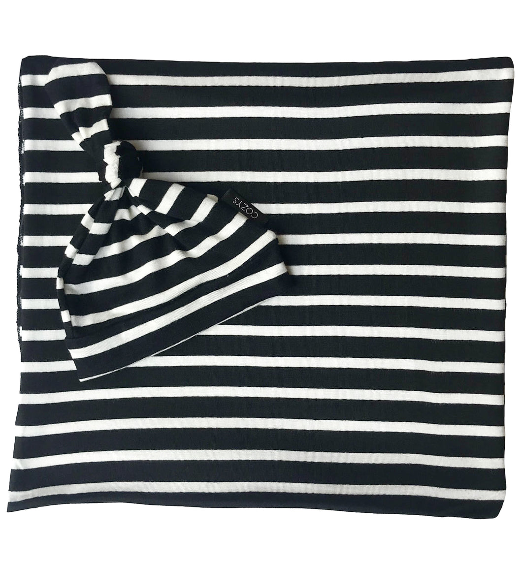 BLACK + WHITE THIN STRIPE BEANIE SET