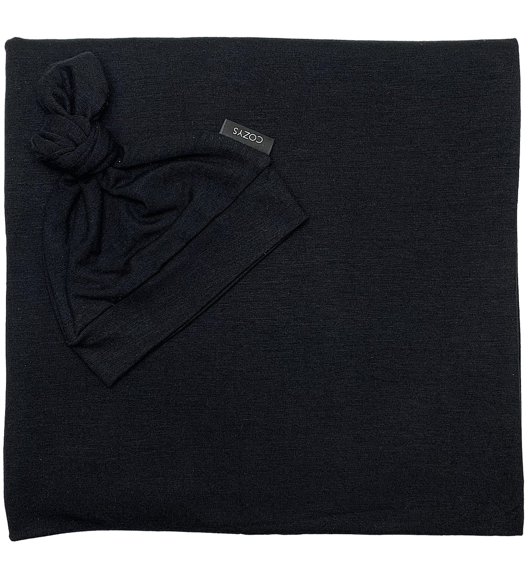 BLACK SOLID BEANIE SET