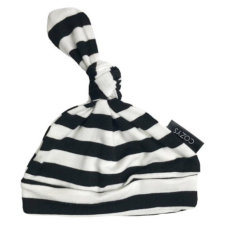 BLACK + WHITE THICK STRIPE BEANIE