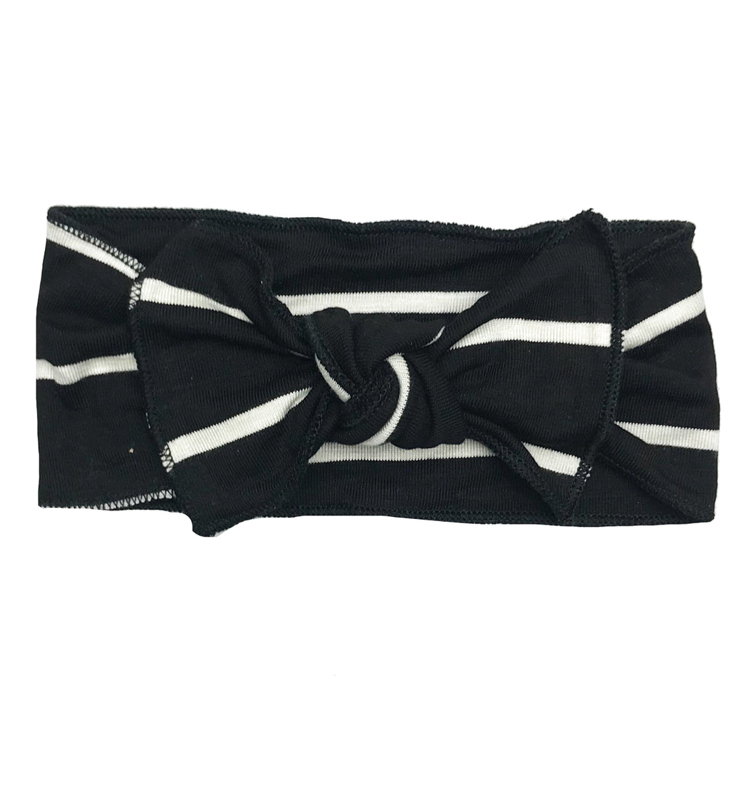 BLACK + WHITE WIDE STRIPE BOW