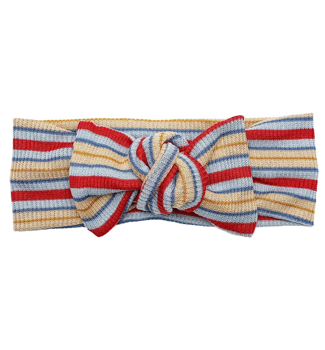 BLUE + RED + YELLOW RIBBED STRIPE BOW