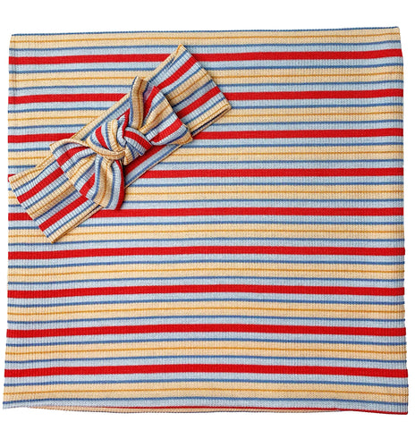 BLUE + RED + YELLOW RIBBED STRIPE BOW SET