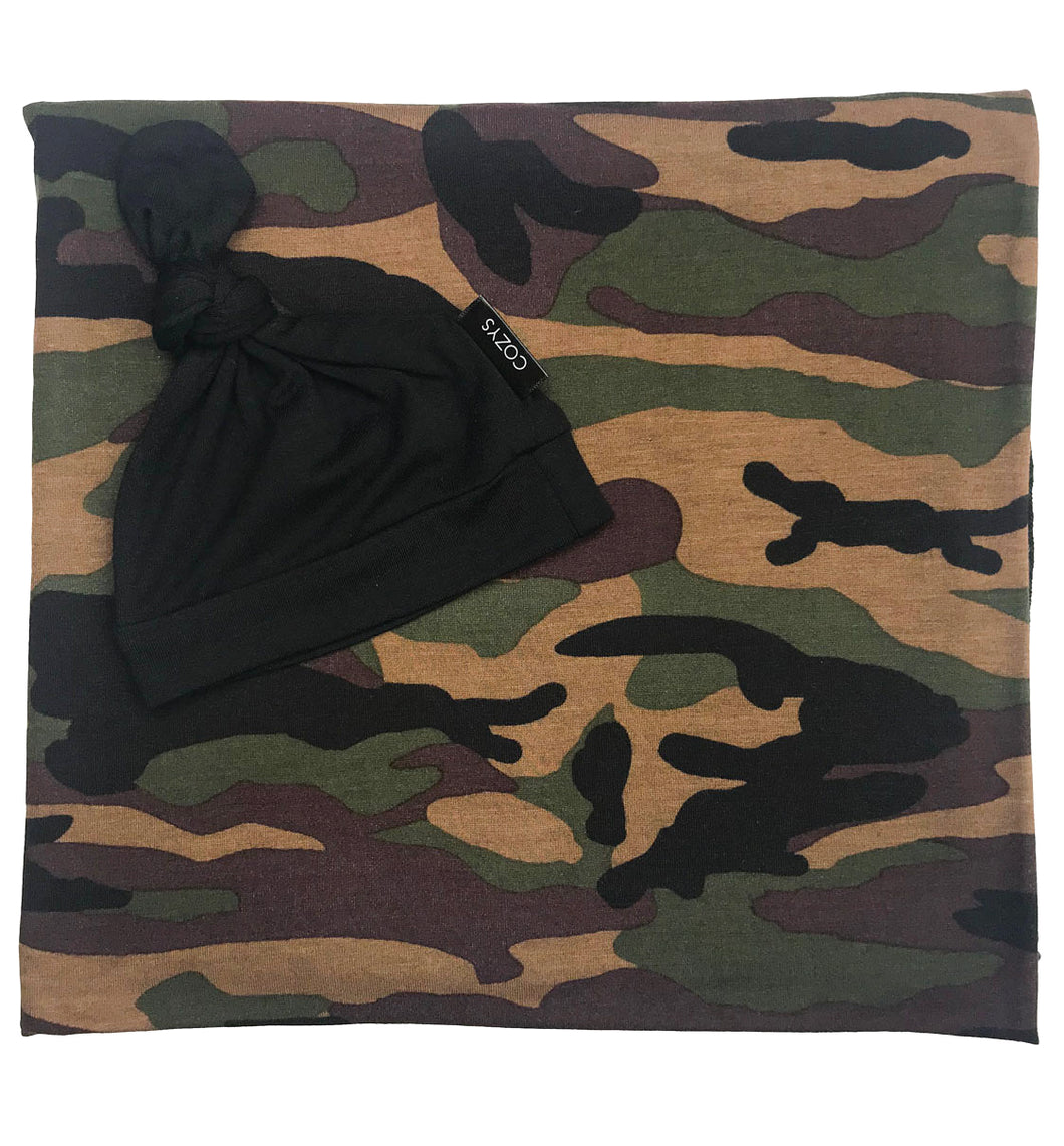 CAMO + SOLID BLACK BEANIE SET