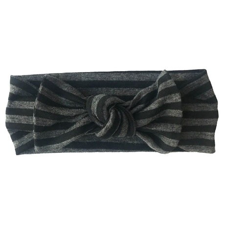 CHARCOAL + BLACK STRIPE BOW