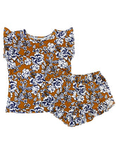 DARK MUSTARD + NAVY FLORAL GIRL SHORT SET