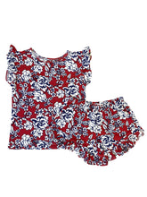 DARK RUST + NAVY FLORAL GIRL SHORT SET