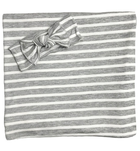 GREY + WHITE STRIPE BOW SET