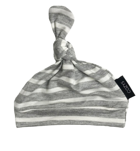 GREY + WHITE STRIPE BEANIE