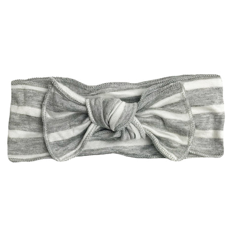 GREY + WHITE STRIPE BOW
