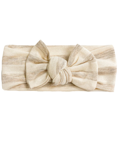 HEATHERED OATMEAL + IVORY STRIPE BOW