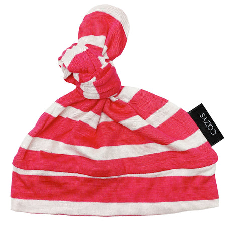HOT PINK + WHITE STRIPE BEANIE