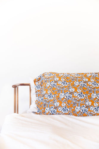 DARK MUSTARD + NAVY FLORAL PILLOW CASE *flawed*