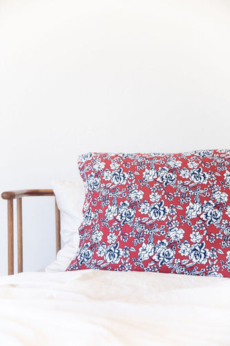 DARK RUST + NAVY FLORAL PILLOW CASE *flawed*
