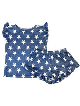 LIGHT DENIM + WHITE STAR GIRL SHORT SET