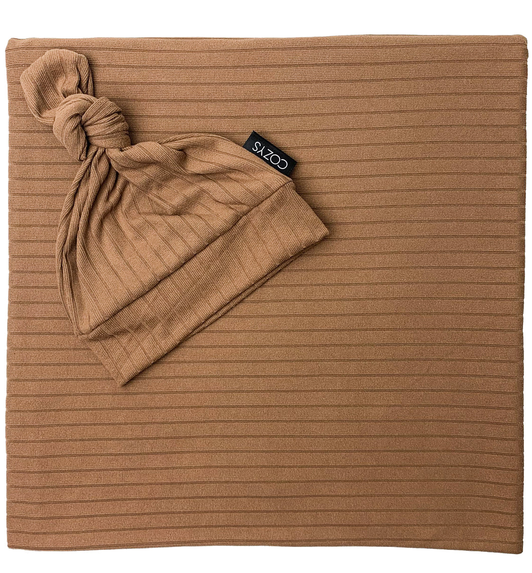 MOCHA RIBBED STRIPE BEANIE SET