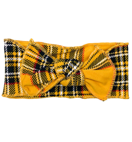 YELLOW + BLACK PLAID BOW