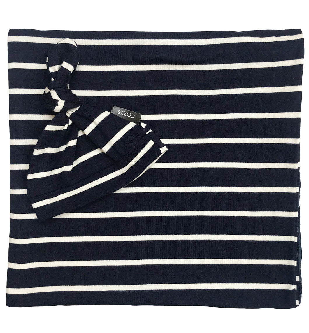 NAVY + WHITE STRIPE BEANIE SET