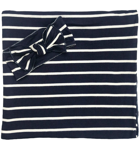 NAVY + WHITE STRIPE BOW SET