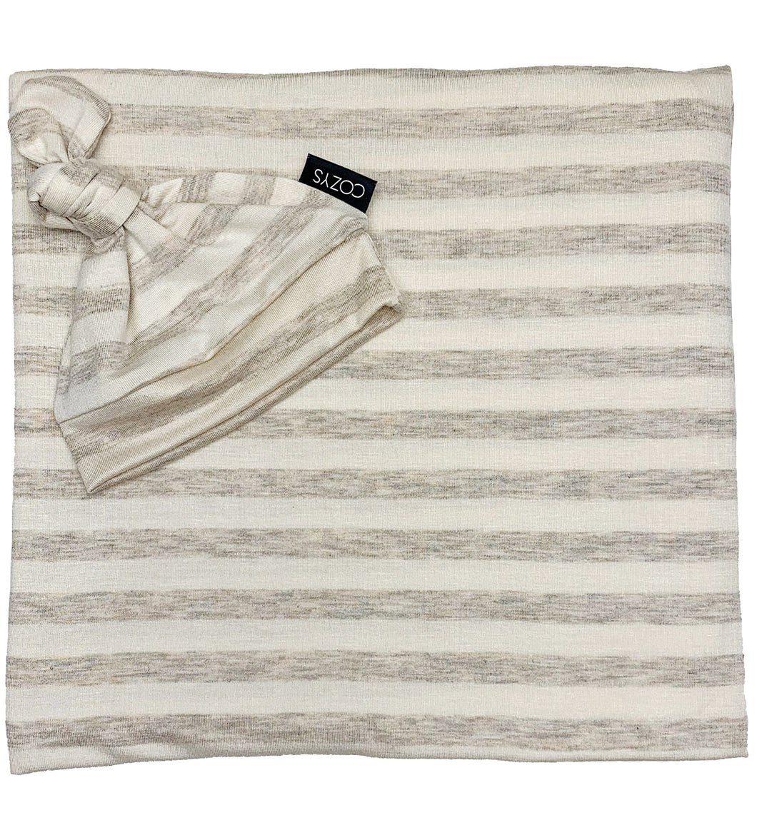 HEATHERED OATMEAL + IVORY STRIPE BEANIE SET