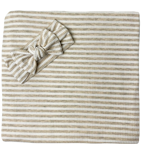 OATMEAL + WHITE RIBBED STRIPE BOW SET