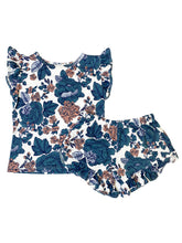 PEACH + BLUE FLORAL GIRL SHORT SET