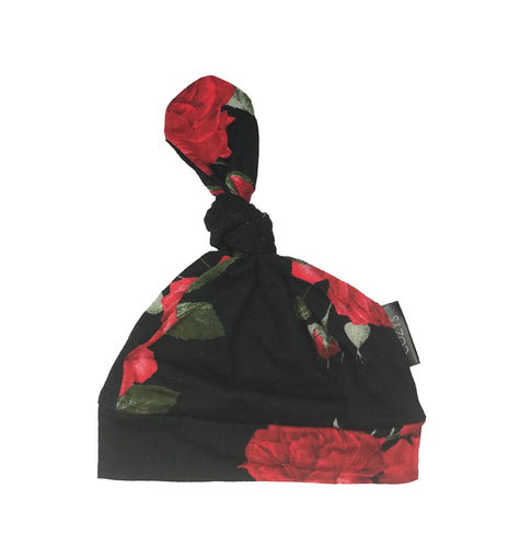 RED + BLACK FLORAL BEANIE
