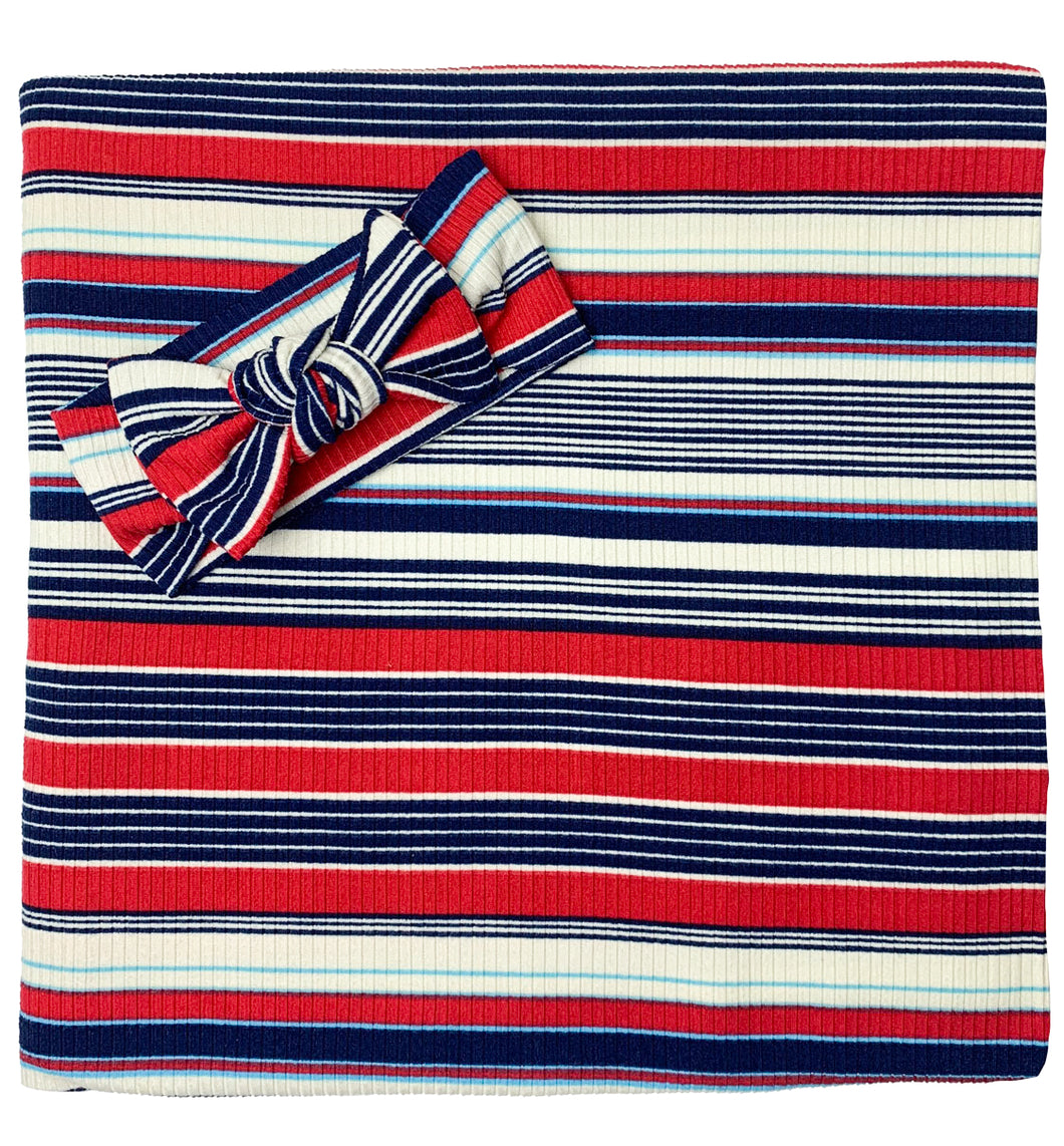 RED + BLUE + WHITE RIBBED STRIPE BOW SET